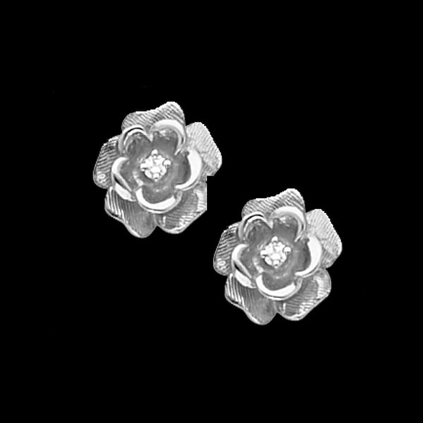 Diamond Rose Platinum Earrings